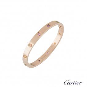 Cartier Rose Gold Coloured Stones Love Bracelet Size 16 B6036516
